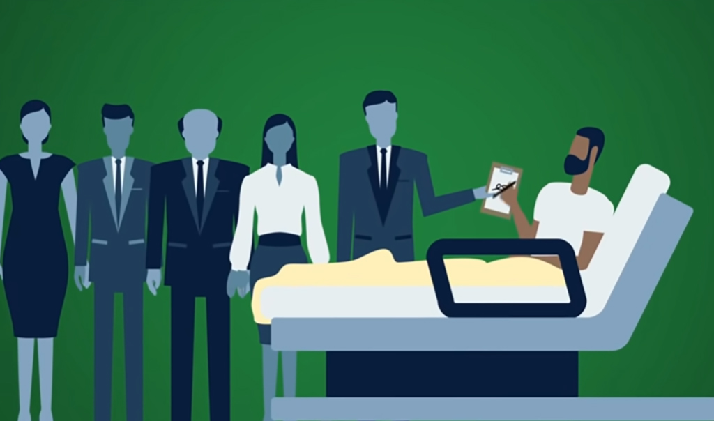 Illustration of man in hospital bed surrounded by people