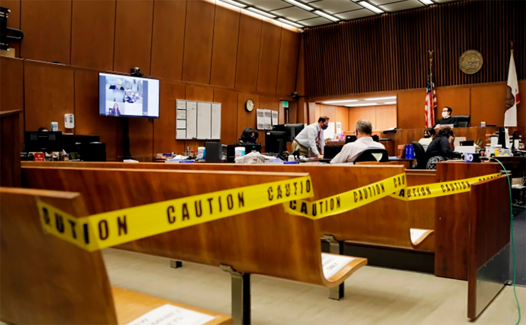 Photo of courtroom during pandemic
